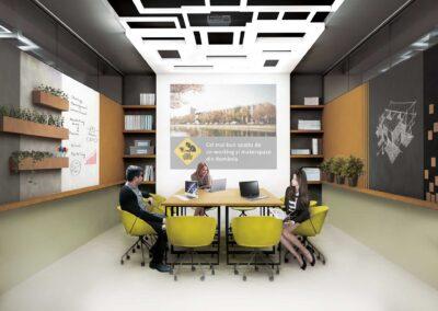 Sala de ședințe Nod Makerspace – amenajare interioară